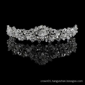 wholesale Retro Big Royal Silver wedding hair accessories Princess zircon tiara Exquisite rhinestone Luxury crystal crown