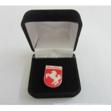 Caja de terciopelo negro apto con pin badge