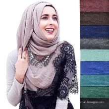New design fashion solid color plain lace women muslim hijab scarf dubai