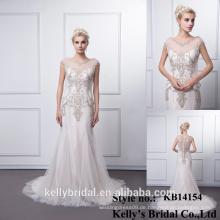 KB14154 Plus Size Brautkleider mit kurzen Ärmeln Tüll formale Meerjungfrau Kleid echte Probe billig Abendkleid auf Lager