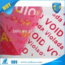 Garantia de evidência anti-falso anti-falso nula se retirado etiqueta Deixe a fita VOID residual