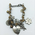 Bracelet de pièces en alliage de fil de cuir de baisse de coeur (XBL13561)