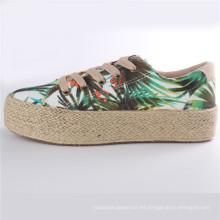 Zapatos de mujer Zapatos de lona de goma con plataforma de cuerda de cáñamo Snc-28007