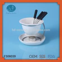 Ensemble de fondue en céramique blanche avec support en fer, Mini hot pot, fondue au chocolat avec fourchettes, pot de chocolat + support