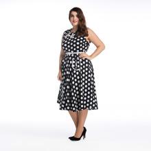 Heiße verkaufende fette Größen-Frauen-Partykleidschwarzweiss-Punkte weg vom Schulterkleid plus Größenkleid