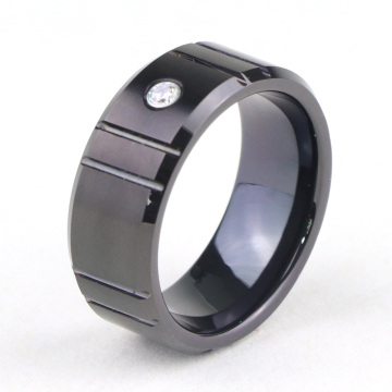 Black Tungsten Carbide verlovingsring met diamant