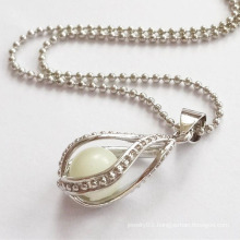 Pearl Shape Luminous Stone Necklace Big Pendant Jewelry Hollow Necklace