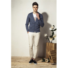 100%Cotton Pure Color V-Neck Knit Men Cardigan Knitwear with Button