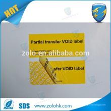 Antifalsificación de la cinta de prueba de manipulación indebida, garantía anular la etiqueta adhesiva si se manipula o envuelve