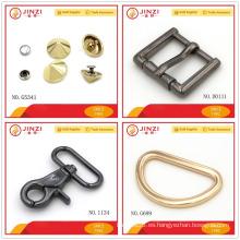 Herrajes metálicos para la fabricación de collares de perro con remaches, anillos en D, hebillas de pernos y ganchos de presión