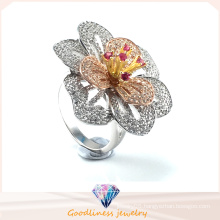 Fashion Jewelry High Quality & Hot Sale Elegant Flower Ring Silver Jewelry Ring R10501