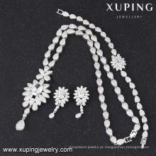 S-46 exclusivo senhoras cor branca luxo cubic zirconia moda jóias set s-46