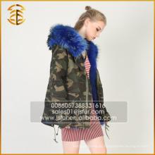 Chaqueta de estilo europeo de la mujer de moda de piel azul con capucha Parka