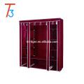 3 door folding cloth wardrobe with sliding door cover