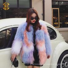 Las mujeres de alta calidad de moda brillante de color mongol abrigo de piel de piel de sobretodo