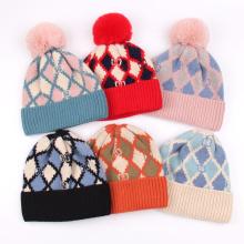 Custom New Fashion Unisex Knitted Beanie Hat Fur Pom Pom Thick Warm Girls Winter Hats