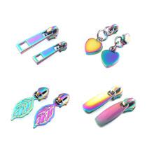 Wholesale Custom Fashion Rainbow Color Zinc Metal Zipper Slider Creative Pattern Zipper Puller For Garment,Bags