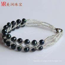 2 linhas moda preto água doce cultivadas Pearl pulseira (EB1517-1)