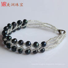 2 Rows Fashion Black Freshwater Cultured Pearl Bracelet (EB1517-1)