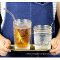 Retro glass cups with relief designs