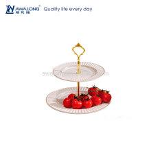 Round Shape Pure White Pretty Design Cheap Ceramic Dessert Plates, Hot Sale Fine Two Layers Plates