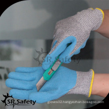 SRSAFETY light blue latex coated cut resistant safety glove/latex gloves
