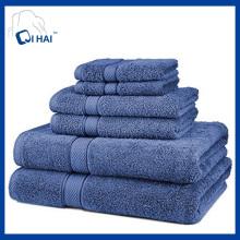 100% Baumwollspirale Blue Hotel Handtuch Sets (QHS5591)