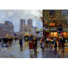 Pintura pintada a mano de la calle de París para el hogar