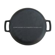 Sartén redonda de hierro fundido pre-sazonada