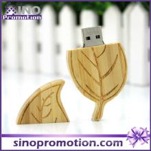 Vente en gros de feuilles en forme de disque dur en bois 32 Go USB