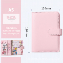 Custom Logo Promotional Work Agenda Budget Business A6 6 Rings Binder Pu Leather Cover Spiral Notebook