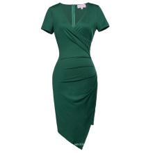 Belle Poque Short Sleeve V-Neck Asymmetrical Hips-Wrapped Dark Green Bodycon Pencil Dress BP000363-3
