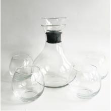 Decantador de vinho transparente e copo de vinho sem haste com rolha de acrílico