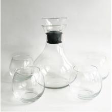 Прозрачный графин для вина и бокал для вина без ножки с акриловой пробкой