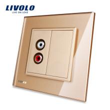 Livolo Стандарт ЕС Золотое Кристаллическое Стекло Панель 1 Gang Audio Розетка VL-C791AD-13