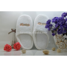 cheap soft white colar fleece personalized close toe chinese custom embroidered hotel slipper