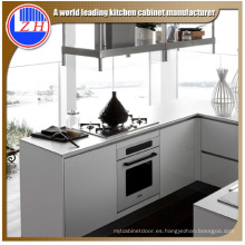 Muebles de cocina de MDF impermeable brillante con accesorios de cesta