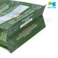 Pochette en plastique pour aliments pour animaux de compagnie à fond plat avec fenêtre