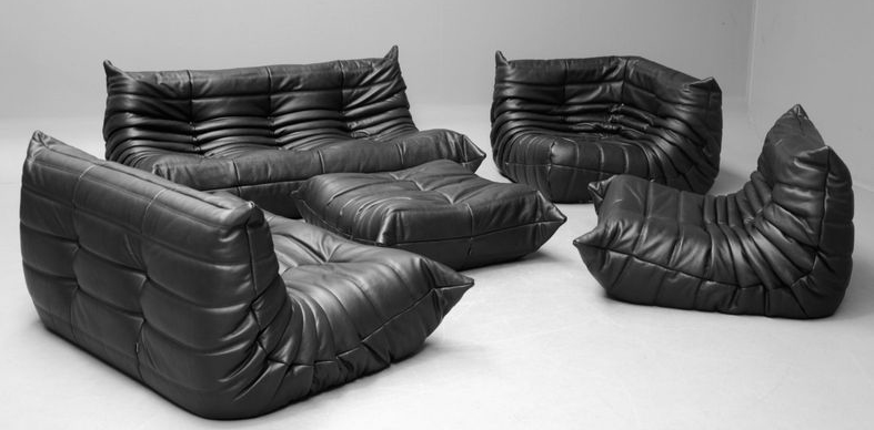 A-Series-of-Black-Full-Grain-Leather-Togo-Sofa-Set-by-Yadea