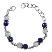 Fabulous Lapis Lazuli Rainbow Moonstone Gemstone & 925 Sterling Silver Antique Style Bracelet Jewelry