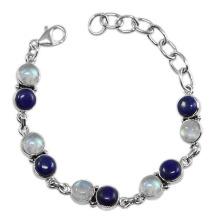 Fabuloso Lapis Lazuli Rainbow Moonstone Gemstone & 925 Sterling Silver Antique Style Bracelet Jewelry
