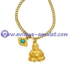 Gold Plated Rowe Buddha And Evil Eye Pendant Necklace