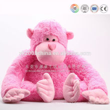 Plush long hair and hand monkey toys with banana pink color