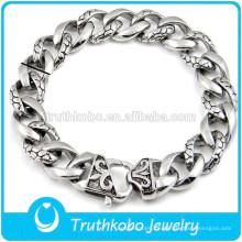 TKB-B0150 esposan pulseras de acero inoxidable con flor de lis de alta plata polaca