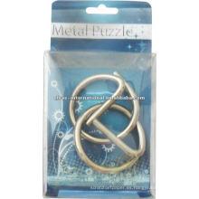 Rompecabezas de metal 3D pequeño con solución de anillos