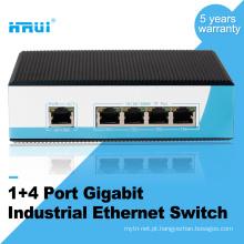 Trilho DIN tipo gigabit 4 port ethernet interruptor industrial