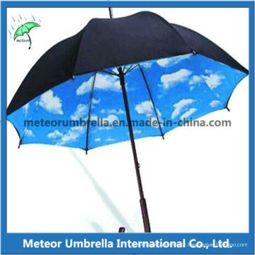Arbre en bois droit Automatique ouvert Nuageux ciel Intérieur Promotion Parapluie