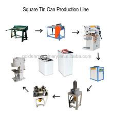 Linha de produção para fabricação de baldes retangulares de lata