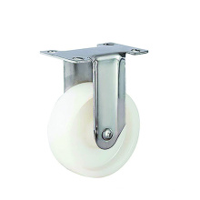 Roulettes rigides en PP blanc en acier inoxydable à usage moyen