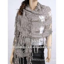 2016 Latest fashion big size crochet fringe winter scarf